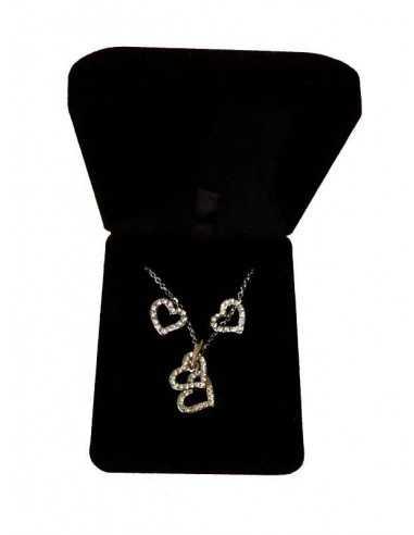 Parure en coffret collier pendentif coeur superposés et boucles