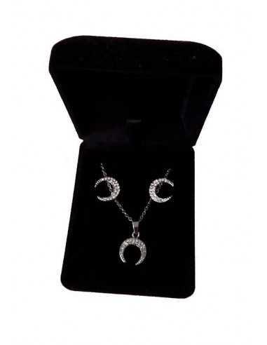 Parure en coffret collier pendentif lune sertie et boucles