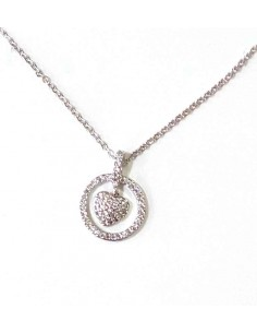 Collier pendentif coeur dans anneau serti de zirconiums